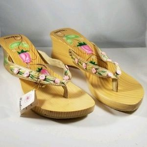 Woodies Sandals Pink Flowers Floral Shoes 10